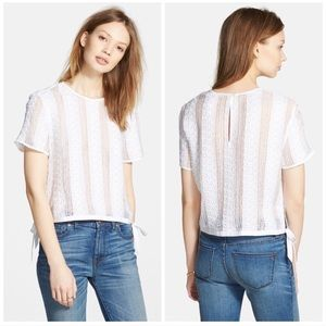 Madewell Lace Side Tie Crop Tee